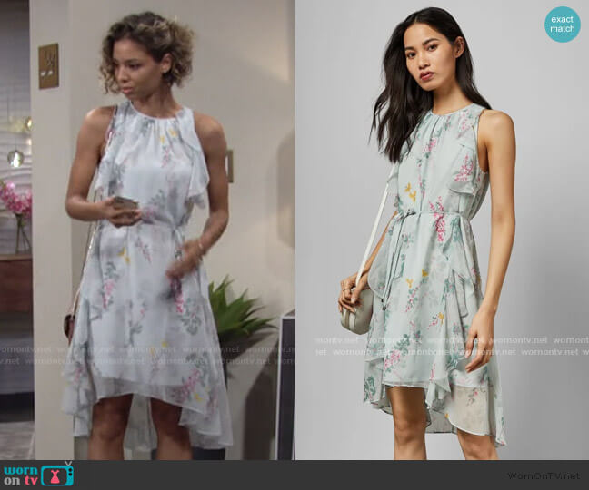 Pariz Sorbet Dip Hem Ruffle Dress by Ted Baker worn by Elena Dawson (Brytni Sarpy) on The Young & the Restless