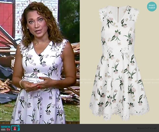 Nolla Elderflower V Neck Skater Dress by Ted Baker worn by Ginger Zee  on Good Morning America