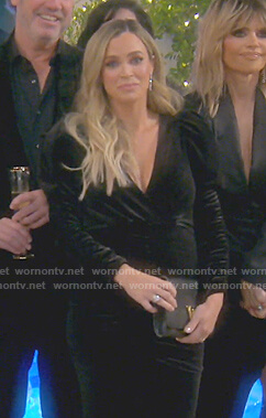 Teddi's black puff sleeve velvet dress on The Real Housewives of Beverly Hills