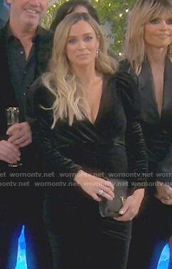 Teddi's black puff sleeve velvet dress on The Real Housewives of Beverly Hills