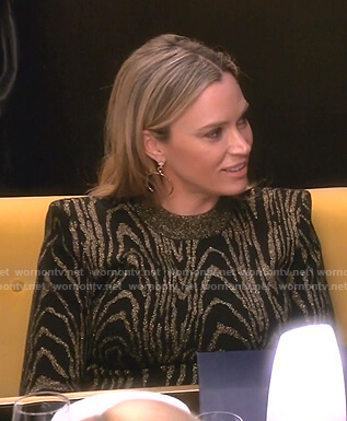 Teddi's metallic print knit dress on The Real Housewives of Beverly Hills