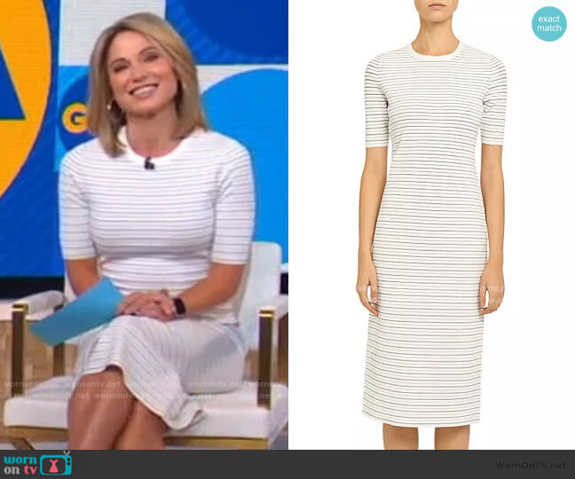 Ribbed Stretch Knit Striped Midi Dress by Theory worn by Amy Robach  on Good Morning America
