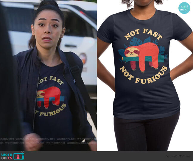 Not Fast Not Furious Tee by Michael Buxton at Threadless worn by Ella Lopez (Aimee Garcia) on Lucifer