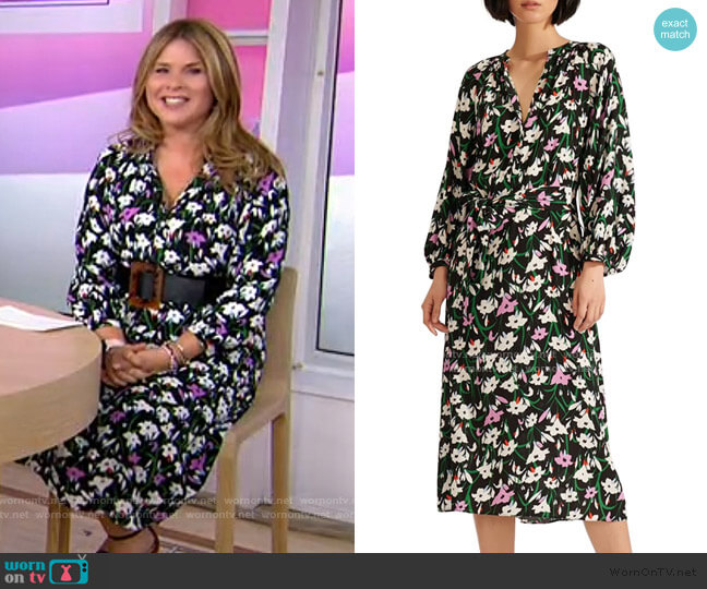 Cecilia Floral Print Midi Dress by Veronica Beard worn by Jenna Bush Hager  on Today