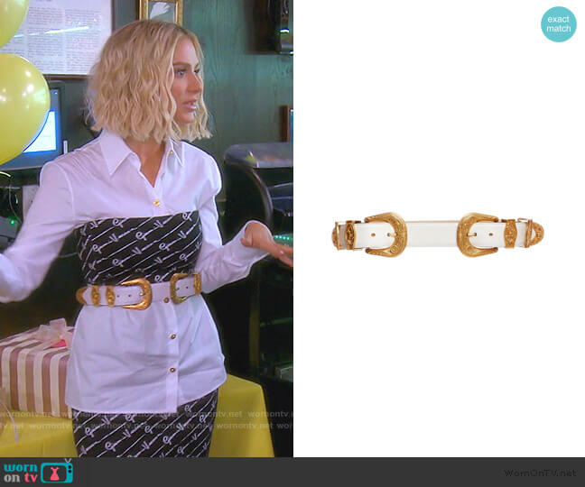 Oro Tribute Double Buckle Belt by Versace worn by Dorit Kemsley  on The Real Housewives of Beverly Hills