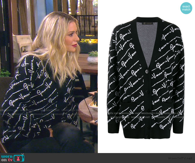 All Over Logo Cardigan by Versace worn by Dorit Kemsley  on The Real Housewives of Beverly Hills