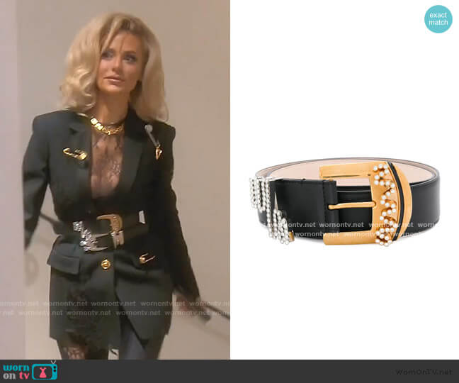 Crystal-Embellished Buckle Belt by Versace worn by Dorit Kemsley  on The Real Housewives of Beverly Hills