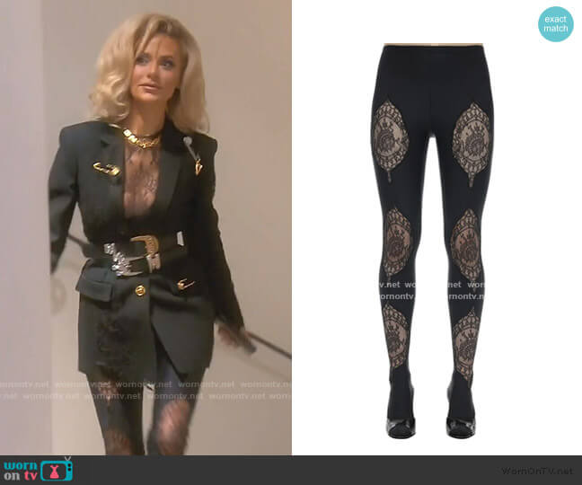 Lycra & Lace Footed Leggings by Versace worn by Dorit Kemsley  on The Real Housewives of Beverly Hills