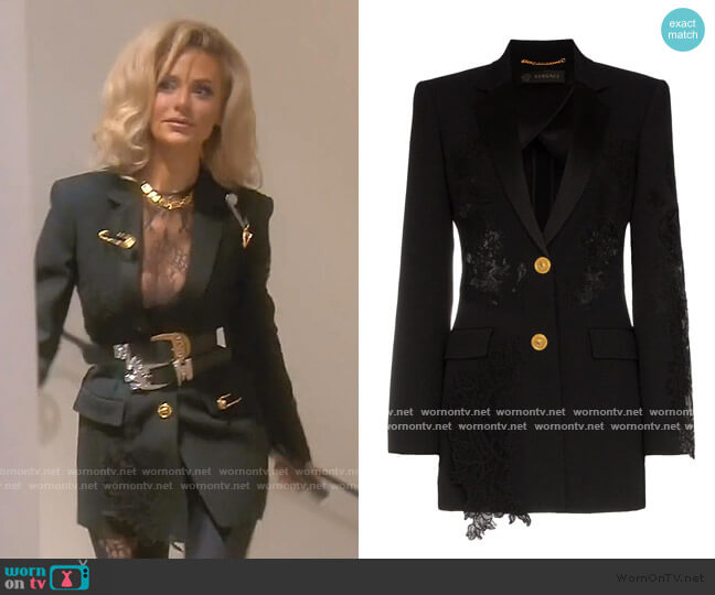 Lace-Panelled Blazer by Versace worn by Dorit Kemsley  on The Real Housewives of Beverly Hills