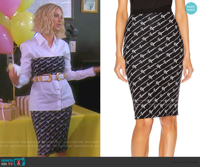 Text Print Skirt by Versace worn by Dorit Kemsley  on The Real Housewives of Beverly Hills