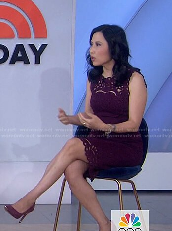 Vicky's burgundy scalloped dress on Today
