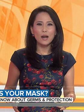 Vicky Nguyen's navy cherry print cap sleeve dress on Today