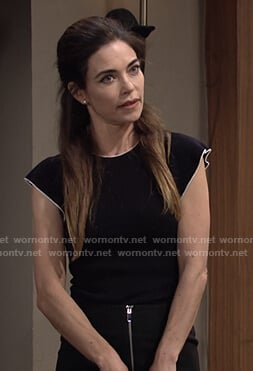 Victoria's black flutter sleeve sweater on The Young and the Restless