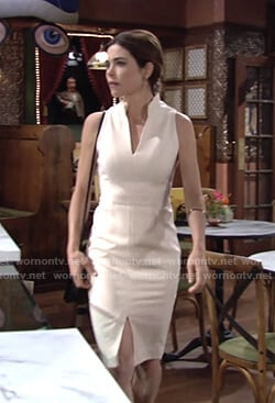 Victoria's ivory pleated neck dress on The Young and the Restless