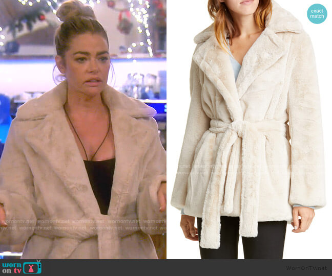 Belted Faux Fur Coat by Vince worn by Denise Richards  on The Real Housewives of Beverly Hills