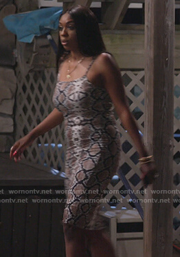 Wendy's snakeskin print dress on The Real Housewives of Potomac