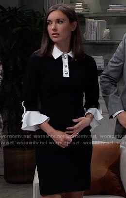 Willow's black contrasted dress on General Hospital