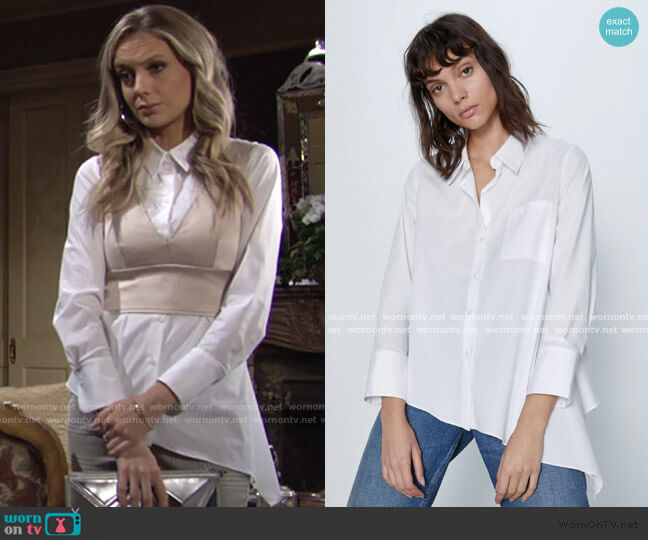 Asymmetric Poplin Shirt by Zara worn by Abby Newman (Melissa Ordway) on The Young & the Restless