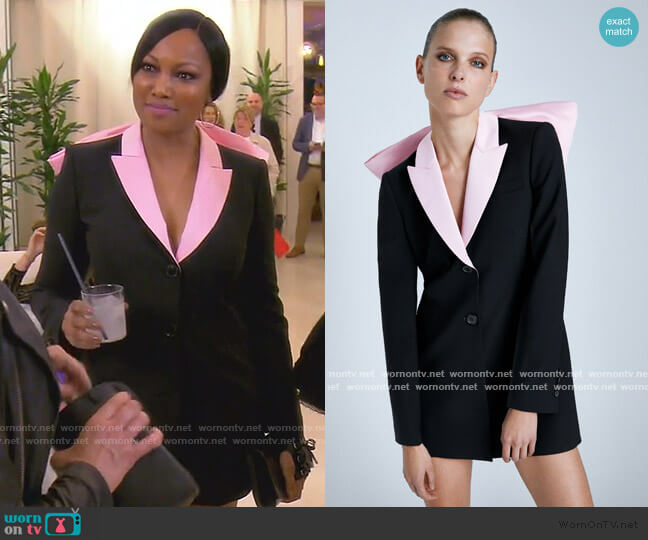 Bow Blazer Dress by Zara worn by Garcelle Beauvais  on The Real Housewives of Beverly Hills