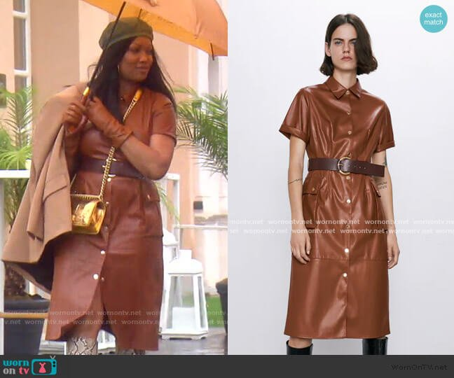 Faux Leather Shirt Dress by Zara worn by Garcelle Beauvais  on The Real Housewives of Beverly Hills