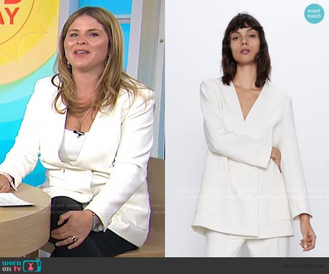 Lapelless Double Breasted Blazer by Zara worn by Jenna Bush Hager  on Today