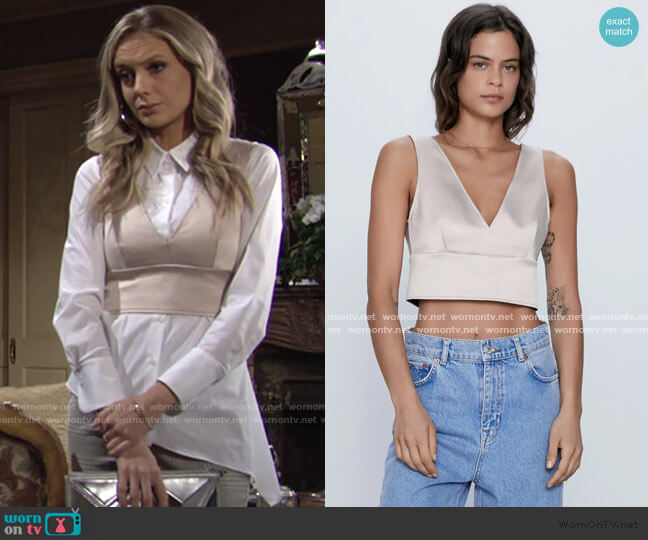 Satin Crop Top by Zara worn by Abby Newman (Melissa Ordway) on The Young & the Restless