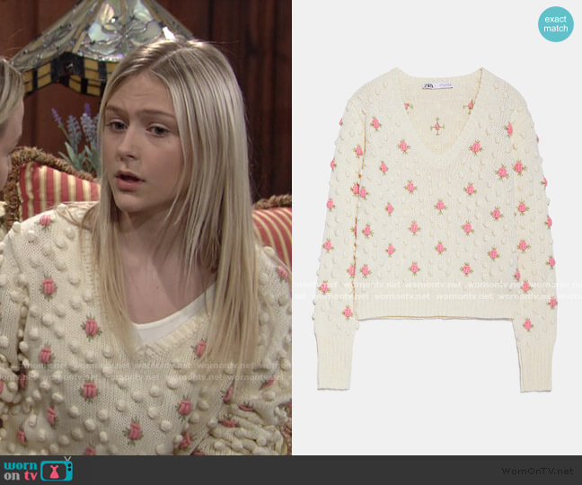 Floral Pom Pom Sweater by Zara worn by Faith Newman (Alyvia Alyn Lind) on The Young & the Restless