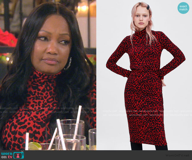 Textured Weave Dress by Zara worn by Garcelle Beauvais  on The Real Housewives of Beverly Hills
