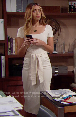 Zoe's white ribbed tie waist dress on The Bold and the Beautiful