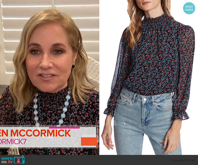 Floral Smocked Mock Neck Blouse by 1.State worn by Maureen McCormick on Today