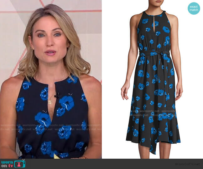Belted Rose-Print Midi Dress by Derek Lam 10 Crosby worn by Amy Robach  on Good Morning America