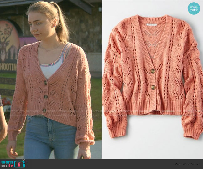 Pointelle Button Front Cardigan by American Eagle worn by Sterling Wesley (Maddie Phillips) on Teenage Bounty Hunters