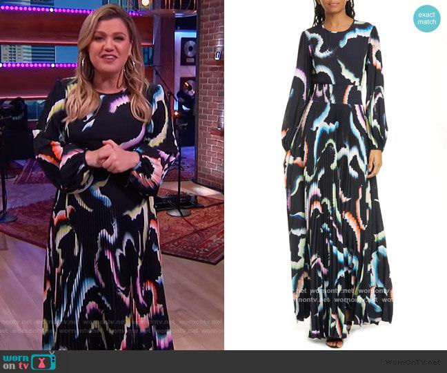 Leah Pleated Long Sleeve Maxi Dress by ALC worn by Kelly Clarkson  on The Kelly Clarkson Show