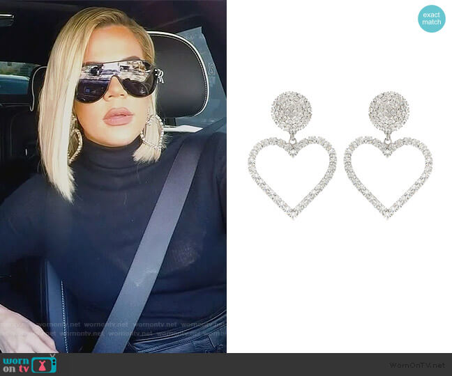 Crystal-embellished earrings by Alessandra Rich worn by Khloe Kardashian  on Keeping Up with the Kardashians