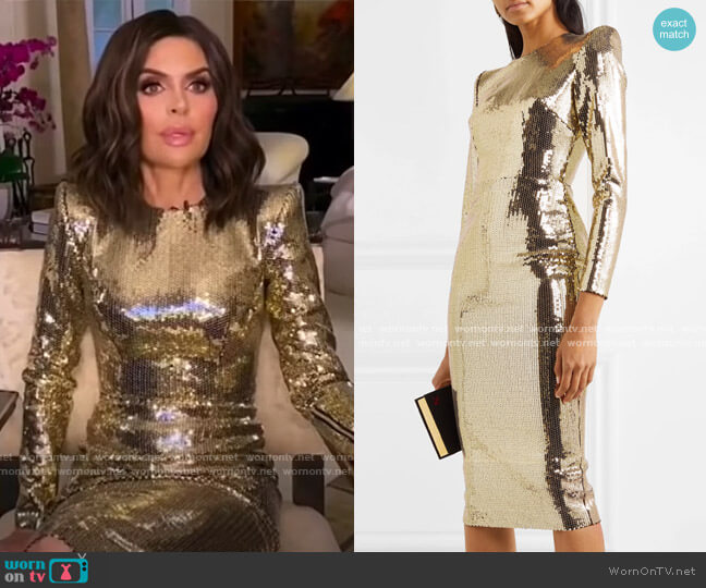 Williams sequined Crepe Midi Dress by Alex Perry worn by Lisa Rinna  on The Real Housewives of Beverly Hills