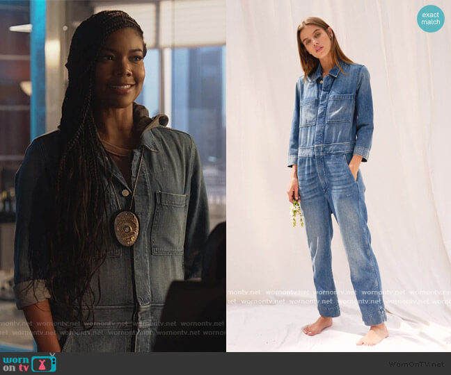 Skip Jumpsuit Indigo by AMO worn by Sydney Burnett (Gabrielle Union) on LA's Finest