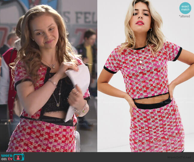 Two-Piece Tweed Check Knitted T-Shirt by Asos worn by Carrie (Savannah Lee May) on Julie & the Phantoms