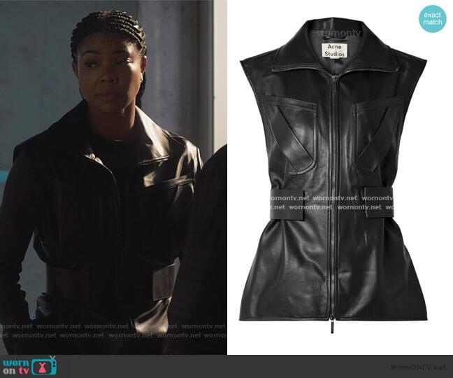 Lorique leather vest by Acne Studios worn by Sydney Burnett (Gabrielle Union) on LA's Finest