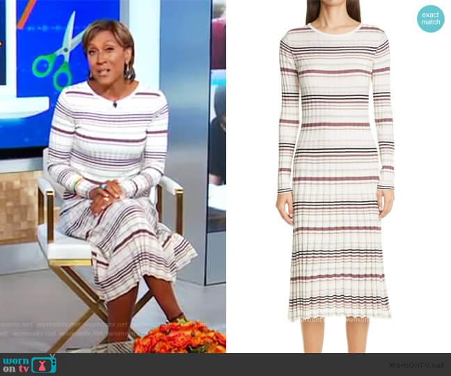 Stripe Long Sleeve Silk & Cashmere Midi Sweater Dress by Adam Lippes worn by Robin Roberts  on Good Morning America