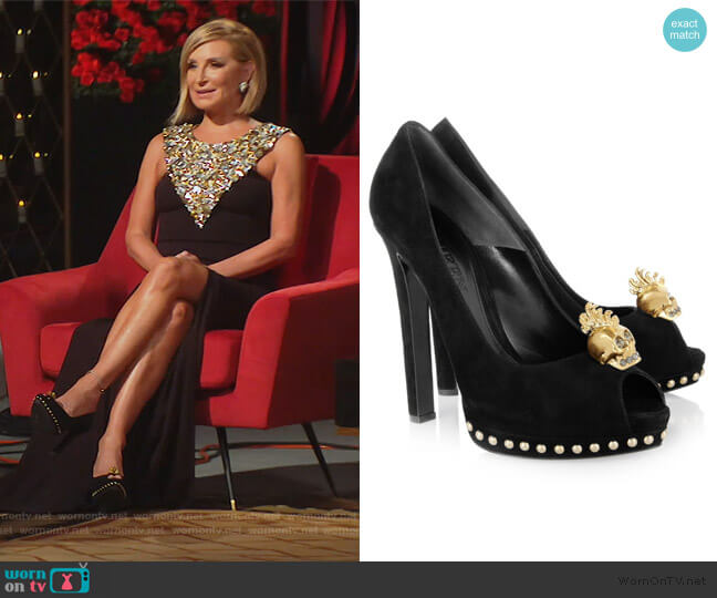 Skull-embellished suede pumps by Alexander McQueen worn by Sonja Morgan  on The Real Housewives of New York City