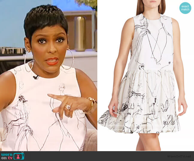 Faces Sleeveless Babydoll Mini Dress by Alexander McQueen worn by Tamron Hall  on Tamron Hall Show