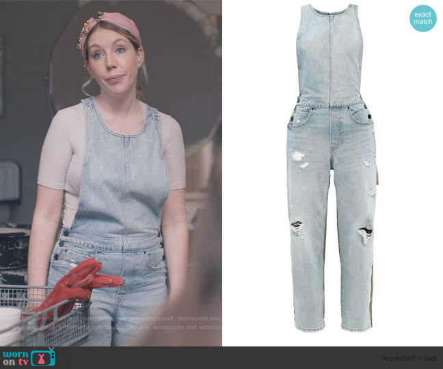 Distressed denim overalls by Alexander Wang worn by Katherine (Katherine Ryan) on The Duchess