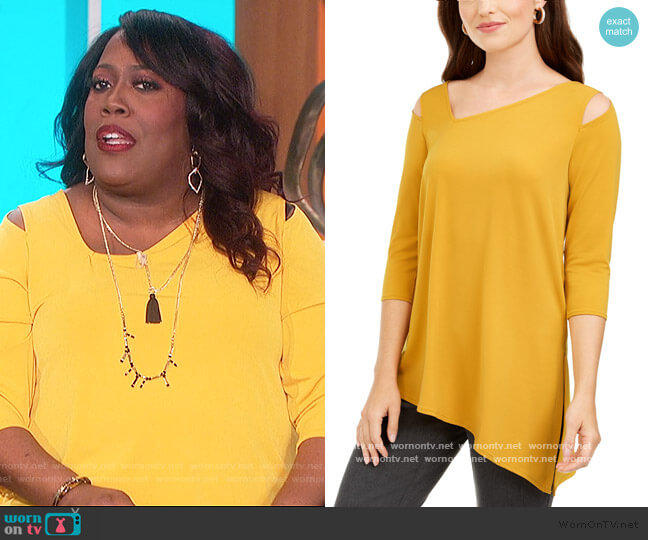 Cold-Shoulder Asymmetrical Top by Alfani worn by Sheryl Underwood  on The Talk