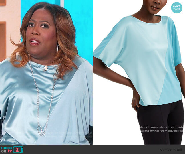 Mixed-Media Colorblocked Top by Alfani worn by Sheryl Underwood  on The Talk