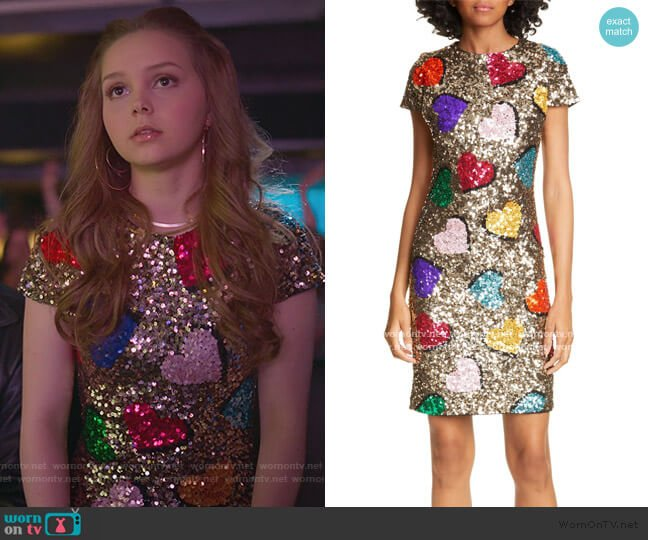 Nat Heart Sequin Minidress by Alice + Olivia worn by Carrie (Savannah Lee May) on Julie & the Phantoms