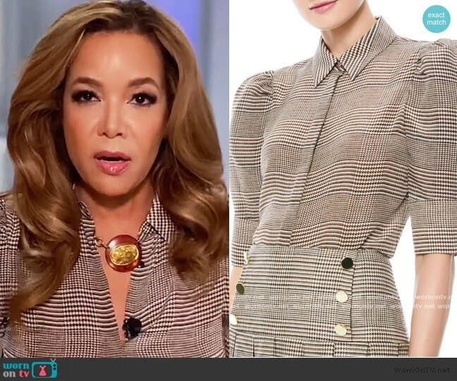 Will Prince Of Wales Check Puff-Sleeve Silk-Blend Blouse by Alice + Olivia worn by Sunny Hostin  on The View