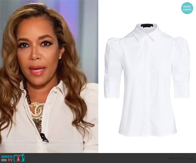 Willa Scrunched Puff Sleeve Top by Alice + Olivia worn by Sunny Hostin  on The View