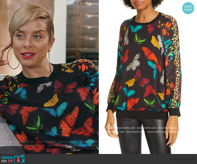 Calvin Mixed Print Raglan Sleeve Sweatshirt by Alice + Olivia worn by Robyn Dixon  on The Real Housewives of Potomac