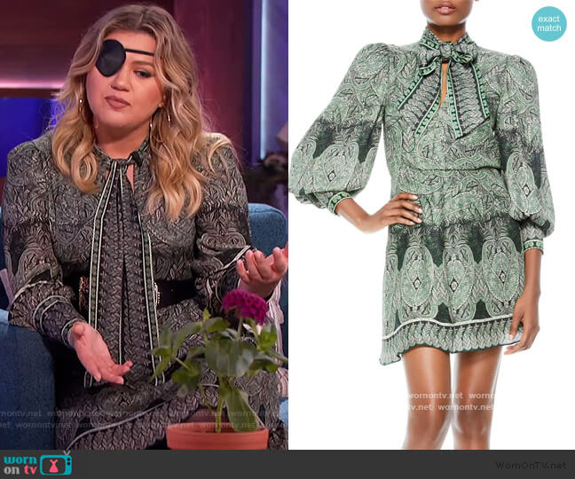 Tanisha Paisley Tie Neck Long Sleeve Dress by Alice + Olivia worn by Kelly Clarkson  on The Kelly Clarkson Show