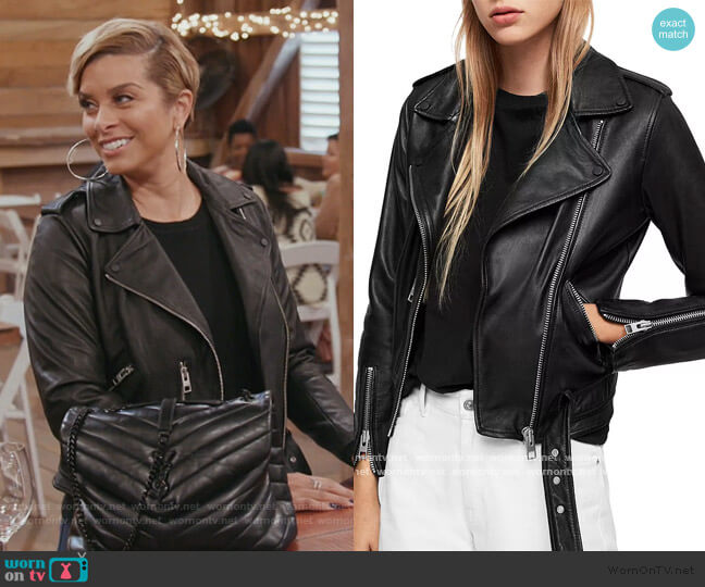Balfern Leather Biker Jacket by All Saints worn by Robyn Dixon  on The Real Housewives of Potomac